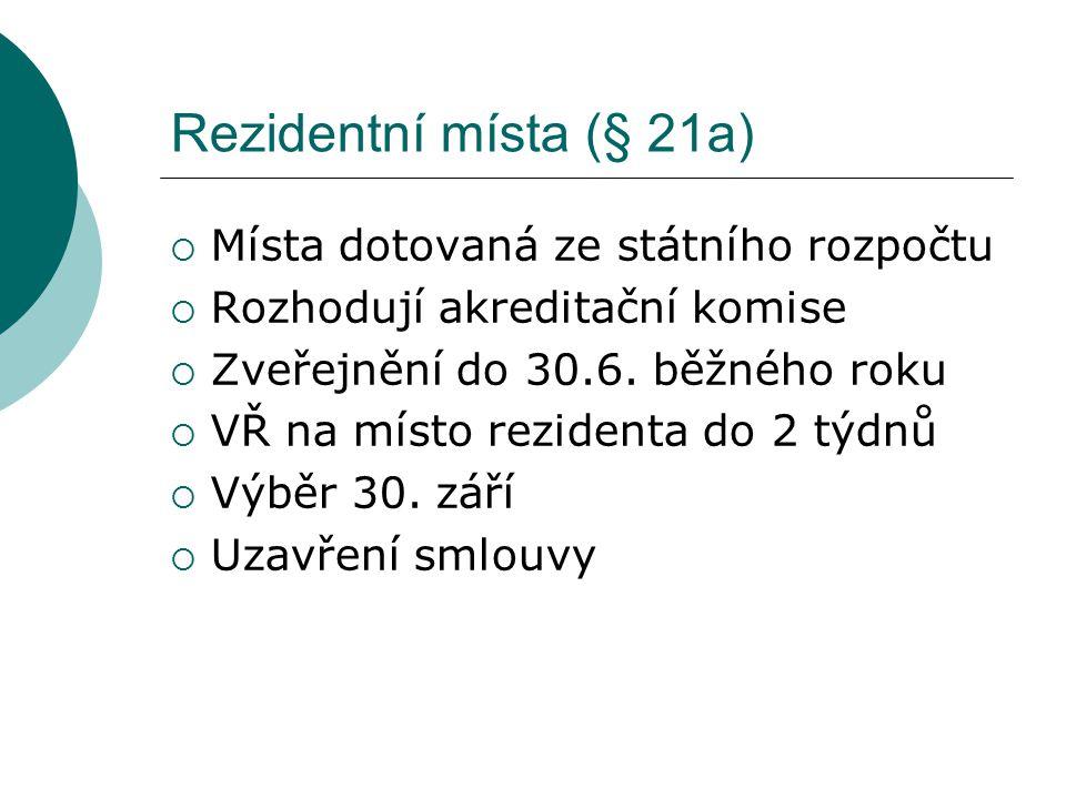 Rezidentní místa (§ 21a)  Místa dotovaná ze státního rozpočtu  Rozhodují akreditační komise  Zveřejnění do 30.6. běžného roku  VŘ na místo reziden