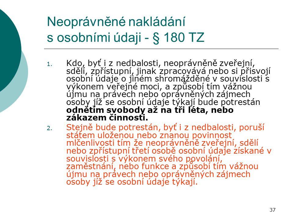 37 Neoprávněné nakládání s osobními údaji - § 180 TZ 1. Kdo, byť i z nedbalosti, neoprávněně zveřejní, sdělí, zpřístupní, jinak zpracovává nebo si při