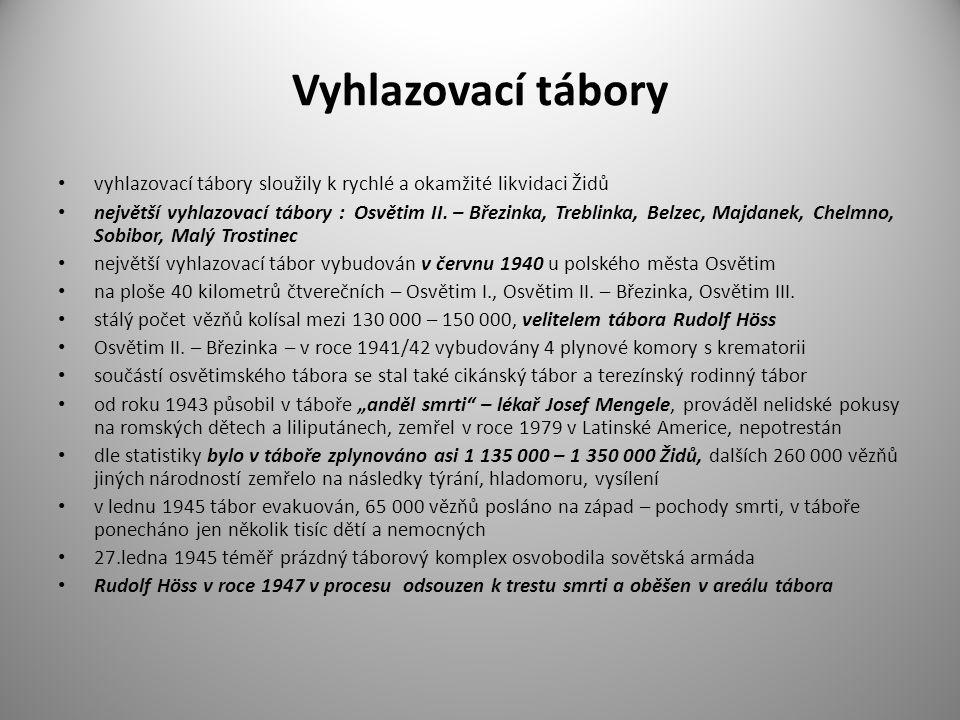 Vyhlazovací tábory vyhlazovací tábory sloužily k rychlé a okamžité likvidaci Židů největší vyhlazovací tábory : Osvětim II. – Březinka, Treblinka, Bel