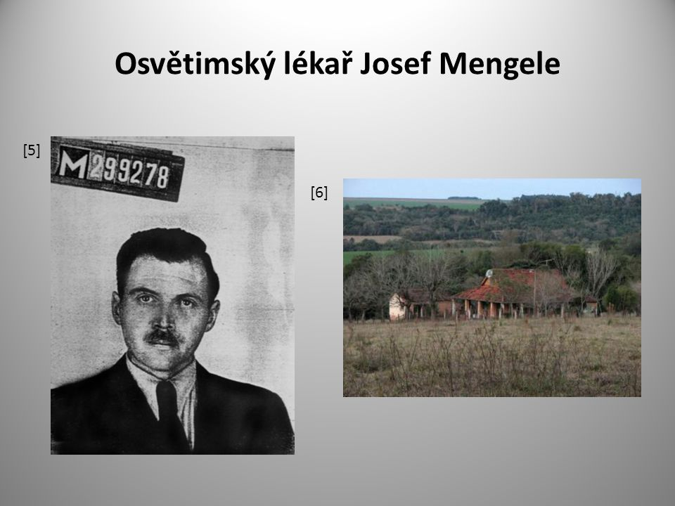 Josef Mengele (1911 – 1979) nacistický lékař z Osvětimi aktivně se účastnil 1.