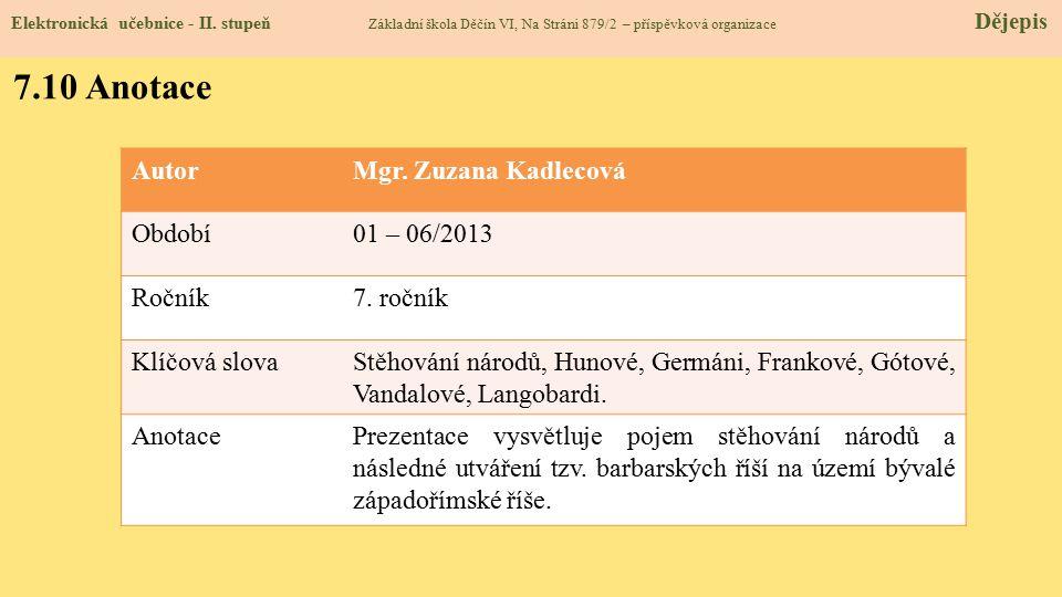 Elektronická učebnice - II. stupeň Základní škola Děčín VI, Na Stráni 879/2 – příspěvková organizace Dějepis 7.10 Anotace AutorMgr. Zuzana Kadlecová O