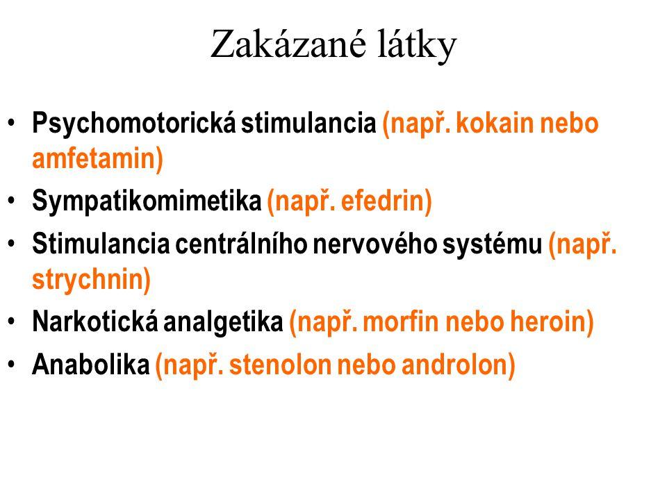 Zakázané látky Psychomotorická stimulancia (např. kokain nebo amfetamin) Sympatikomimetika (např. efedrin) Stimulancia centrálního nervového systému (