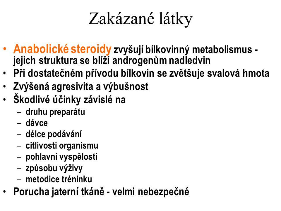Zakázané látky Anabolické steroidy zvyšují bílkovinný metabolismus - jejich struktura se blíží androgenům nadledvin Při dostatečném přívodu bílkovin s