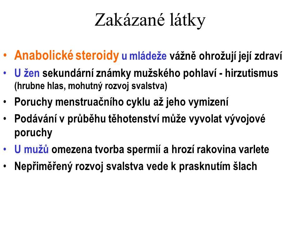 Zakázané látky Anabolické steroidy u mládeže vážně ohrožují její zdraví U žen sekundární známky mužského pohlaví - hirzutismus (hrubne hlas, mohutný r