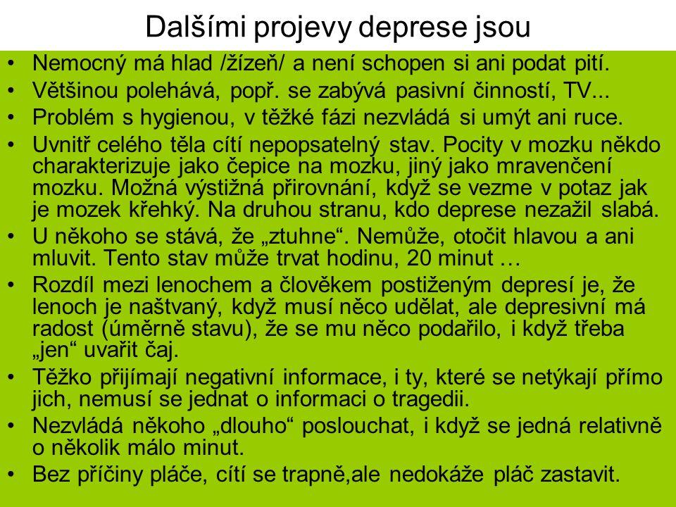 Dalšími projevy deprese jsou Nemocný má hlad /žízeň/ a není schopen si ani podat pití. Většinou polehává, popř. se zabývá pasivní činností, TV... Prob