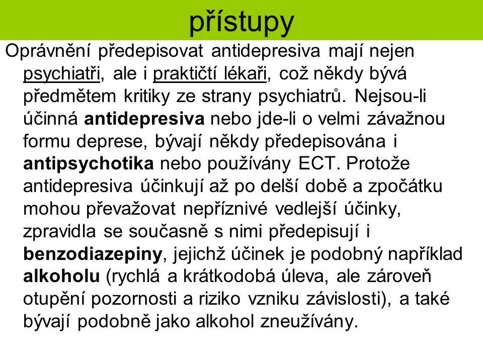 přístupy Oprávnění předepisovat antidepresiva mají nejen psychiatři, ale i praktičtí lékaři, což někdy bývá předmětem kritiky ze strany psychiatrů. Ne
