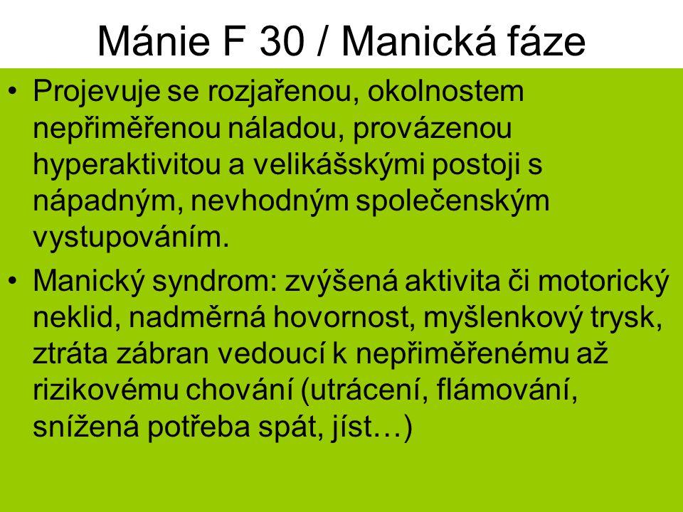 Mánie F 30 / Manická fáze Projevuje se rozjařenou, okolnostem nepřiměřenou náladou, provázenou hyperaktivitou a velikášskými postoji s nápadným, nevhodným společenským vystupováním.