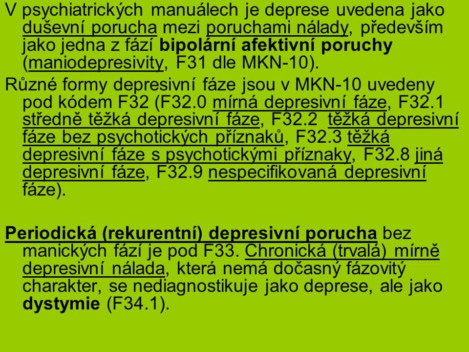 V psychiatrických manuálech je deprese uvedena jako duševní porucha mezi poruchami nálady, především jako jedna z fází bipolární afektivní poruchy (maniodepresivity, F31 dle MKN-10).