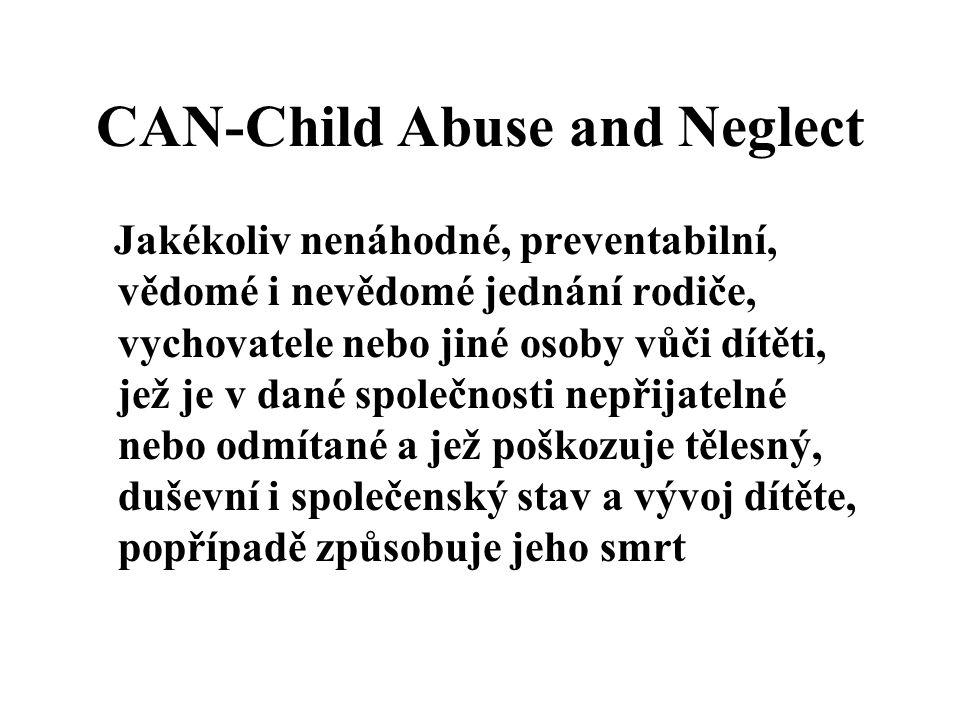 CAN-Child Abuse and Neglect Jakékoliv nenáhodné, preventabilní, vědomé i nevědomé jednání rodiče, vychovatele nebo jiné osoby vůči dítěti, jež je v dané společnosti nepřijatelné nebo odmítané a jež poškozuje tělesný, duševní i společenský stav a vývoj dítěte, popřípadě způsobuje jeho smrt