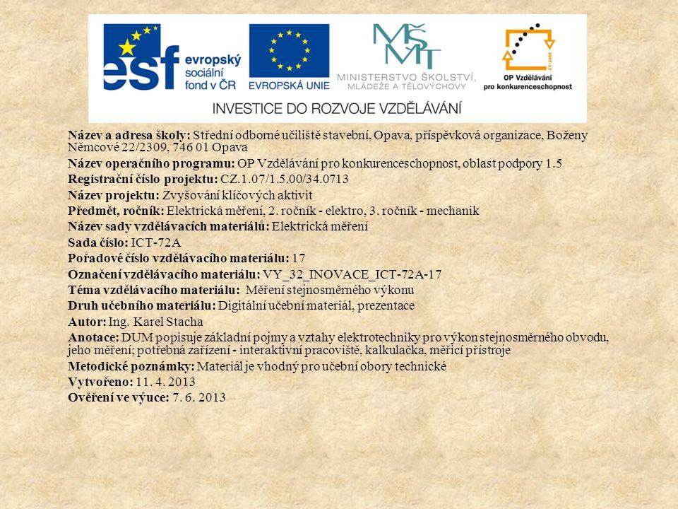Doporučená literatura Elektrotechnická měření.1. vyd.