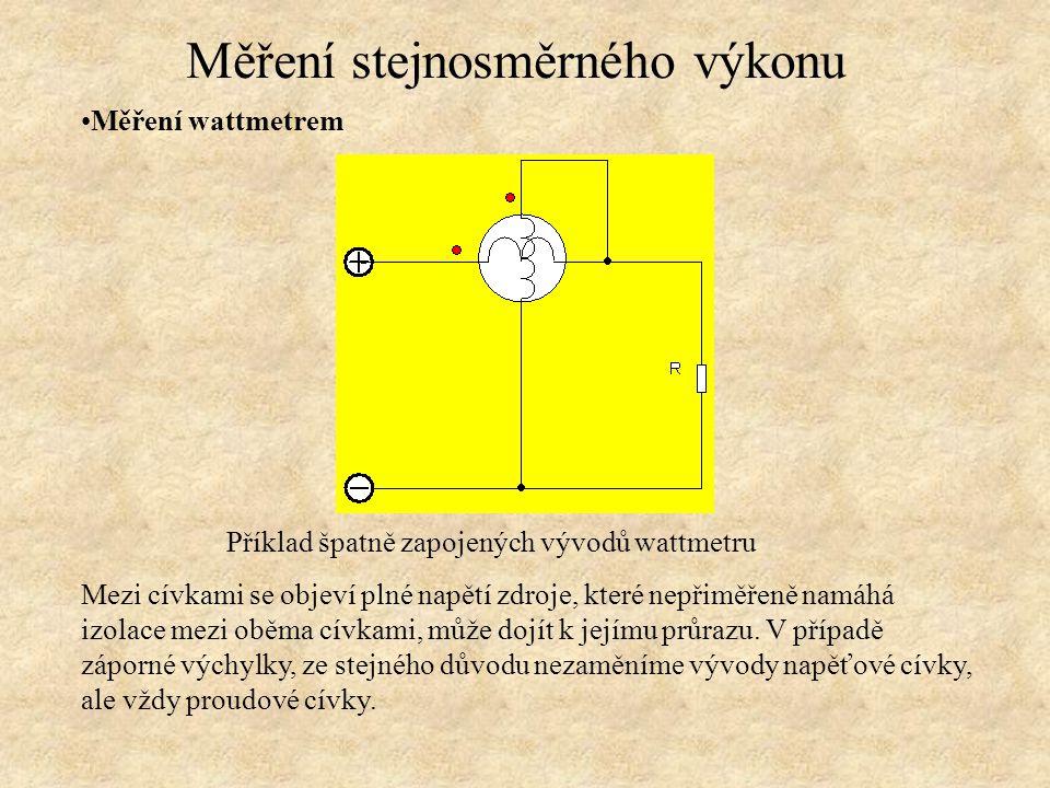Měření wattmetrem, pro malé rezistance A-metr se zapojí sériově s proudovou cívkou W-metru a to před cívku napěťovou W-metru, která je zapojena paralelně s V-metrem a zátěží Z.