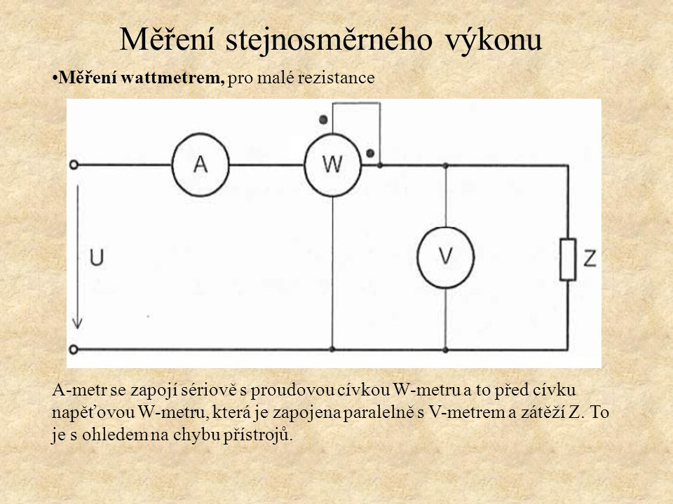 Měření wattmetrem, pro malé rezistance Výpočet Měření stejnosměrného výkonu Proud A-metrem Výkon zátěže Chyby výkonu způsobené přístroji Chyba metody
