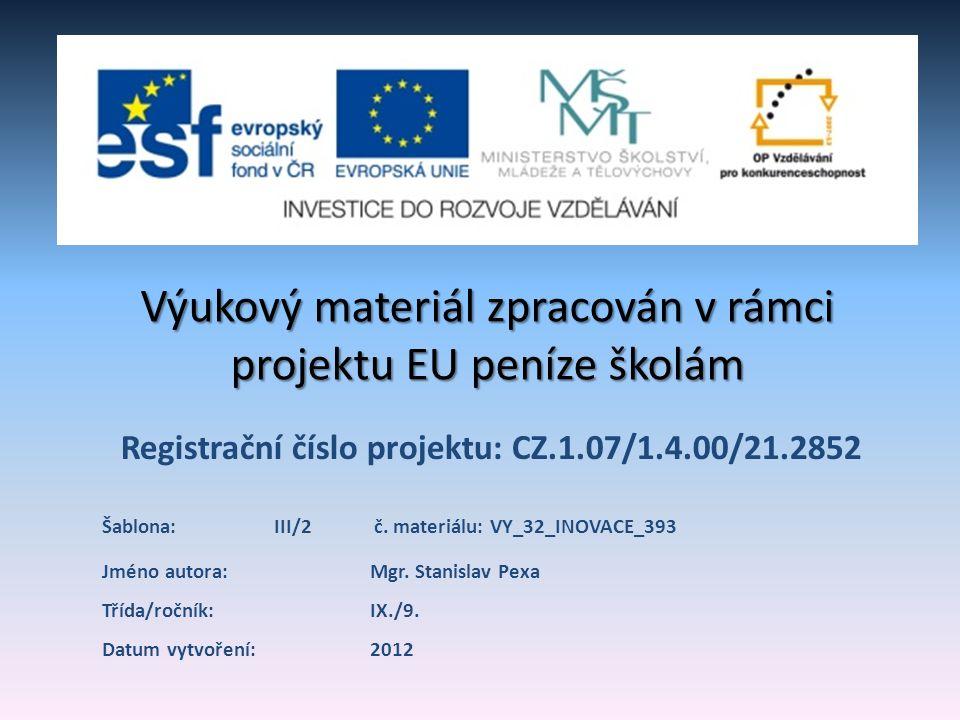 Registrační číslo projektu: CZ.1.07/1.4.00/21.2852 Výukový materiál zpracován v rámci projektu EU peníze školám Jméno autora:Mgr.