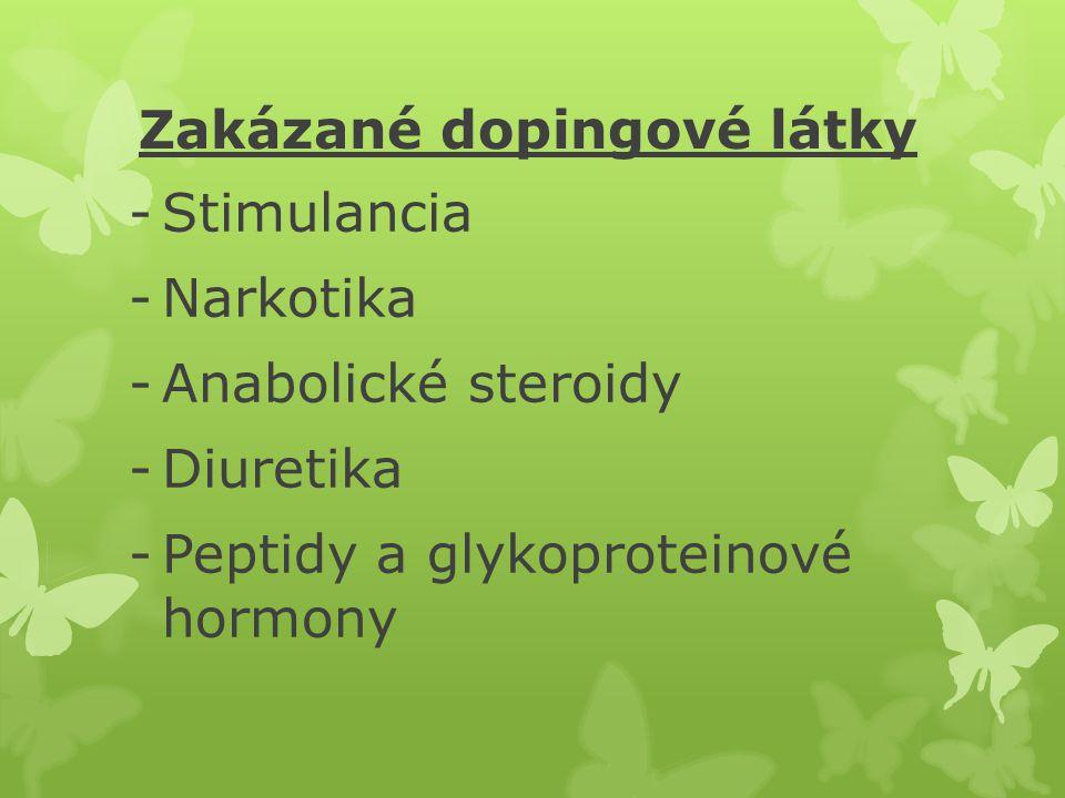 Zakázané dopingové látky -Stimulancia -Narkotika -Anabolické steroidy -Diuretika -Peptidy a glykoproteinové hormony