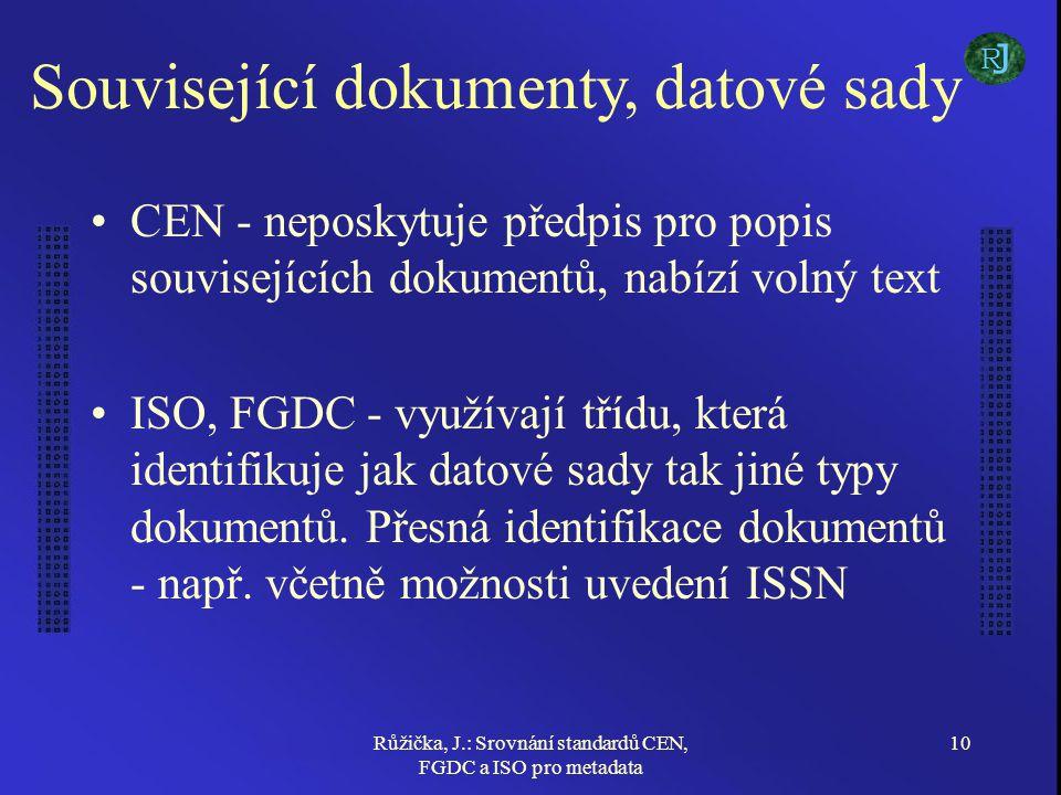 Růžička, J.: Srovnání standardů CEN, FGDC a ISO pro metadata 10 Související dokumenty, datové sady CEN - neposkytuje předpis pro popis souvisejících dokumentů, nabízí volný text ISO, FGDC - využívají třídu, která identifikuje jak datové sady tak jiné typy dokumentů.