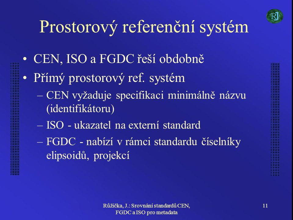 Růžička, J.: Srovnání standardů CEN, FGDC a ISO pro metadata 11 Prostorový referenční systém CEN, ISO a FGDC řeší obdobně Přímý prostorový ref. systém
