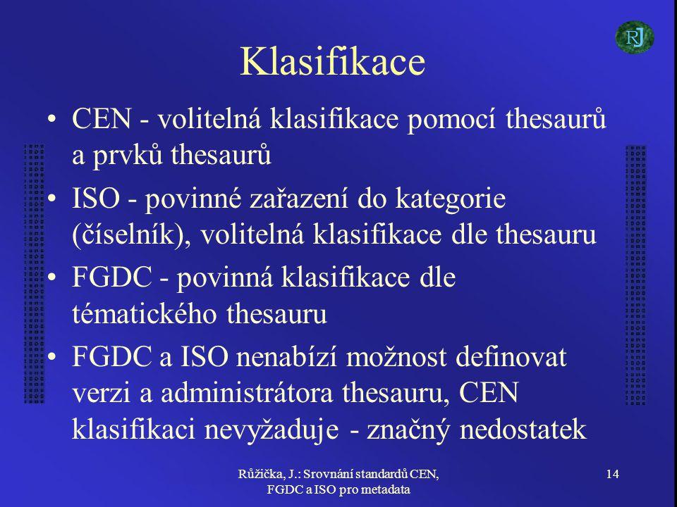 Růžička, J.: Srovnání standardů CEN, FGDC a ISO pro metadata 14 Klasifikace CEN - volitelná klasifikace pomocí thesaurů a prvků thesaurů ISO - povinné