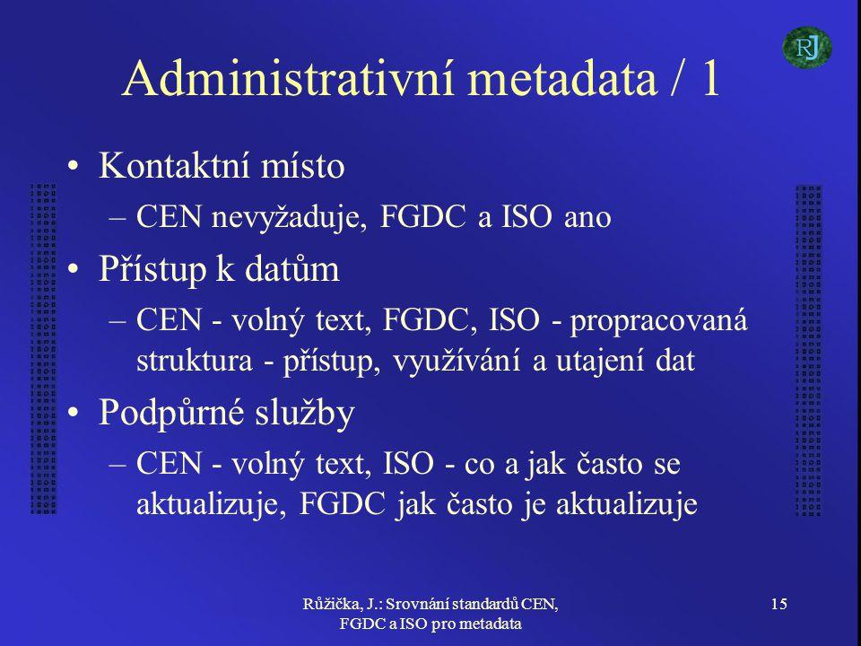 Růžička, J.: Srovnání standardů CEN, FGDC a ISO pro metadata 15 Administrativní metadata / 1 Kontaktní místo –CEN nevyžaduje, FGDC a ISO ano Přístup k datům –CEN - volný text, FGDC, ISO - propracovaná struktura - přístup, využívání a utajení dat Podpůrné služby –CEN - volný text, ISO - co a jak často se aktualizuje, FGDC jak často je aktualizuje J R