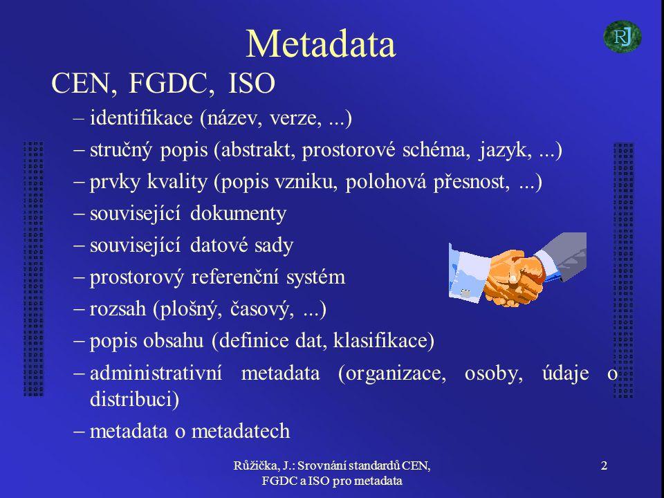 Růžička, J.: Srovnání standardů CEN, FGDC a ISO pro metadata 13 Popis obsahu (definice dat) CEN, FGDC - vyžadují minimálně popis prvků datové sady Všechny standardy umožňují popis na úrovni objektů a atributů, včetně vazeb –ISO - ukazatel na katalog objektů (ISO 19110) –CEN - navíc umožňuje klasifikaci dle thesauru J R