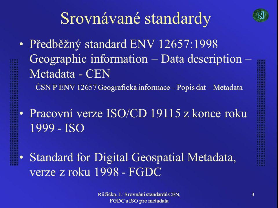Růžička, J.: Srovnání standardů CEN, FGDC a ISO pro metadata 14 Klasifikace CEN - volitelná klasifikace pomocí thesaurů a prvků thesaurů ISO - povinné zařazení do kategorie (číselník), volitelná klasifikace dle thesauru FGDC - povinná klasifikace dle tématického thesauru FGDC a ISO nenabízí možnost definovat verzi a administrátora thesauru, CEN klasifikaci nevyžaduje - značný nedostatek J R