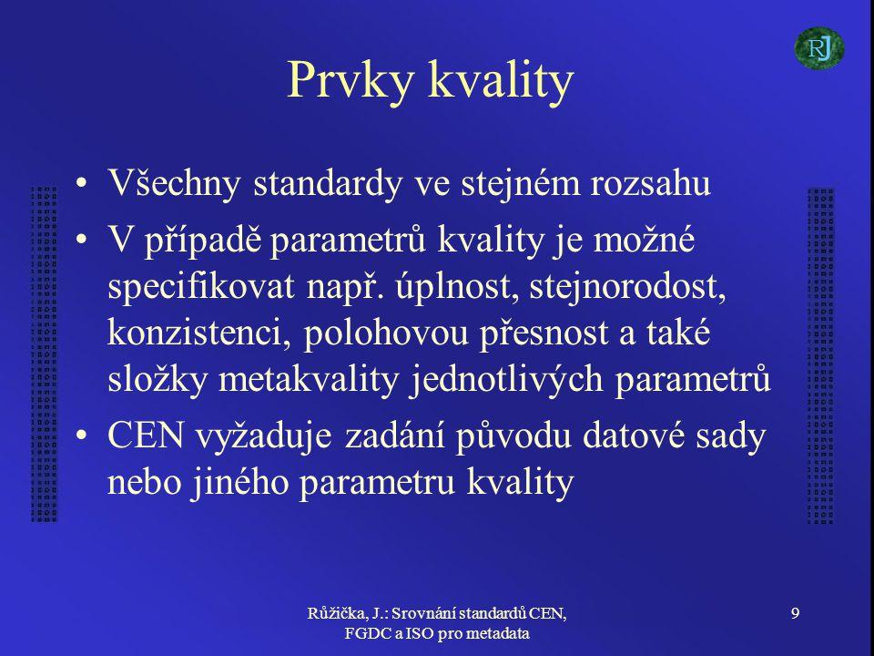 Růžička, J.: Srovnání standardů CEN, FGDC a ISO pro metadata 9 Prvky kvality Všechny standardy ve stejném rozsahu V případě parametrů kvality je možné specifikovat např.