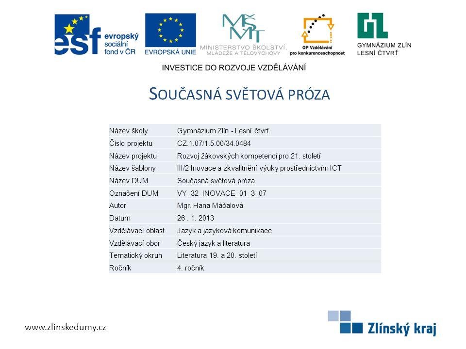S OUČASNÁ SVĚTOVÁ PRÓZA www.zlinskedumy.cz Název školyGymnázium Zlín - Lesní čtvrť Číslo projektuCZ.1.07/1.5.00/34.0484 Název projektuRozvoj žákovskýc
