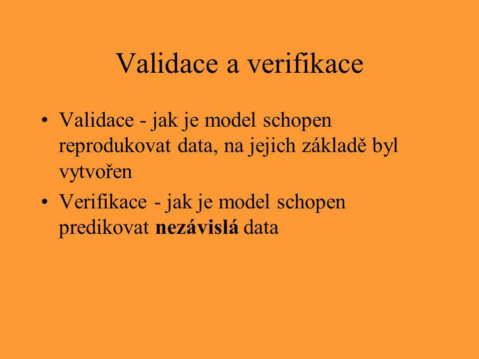 Validace a verifikace Validace - jak je model schopen reprodukovat data, na jejich základě byl vytvořen Verifikace - jak je model schopen predikovat n