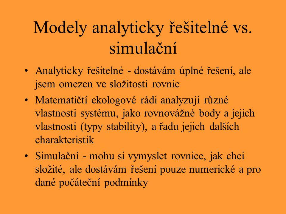 Modely analyticky řešitelné vs. simulační Analyticky řešitelné - dostávám úplné řešení, ale jsem omezen ve složitosti rovnic Matematičtí ekologové rád