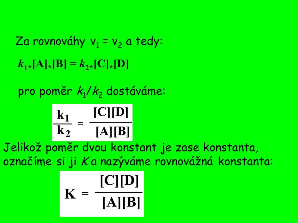 Pro popis změny energie při chemických reakcích používáme Gibbsovy funkce G, pro kterou v rovnovážném stavu za standardních podmínek platí: ΔG 0 = - RT ln K Index nula označuje podmínky standardního stavu (koncentrace reaktantů 1 M atd.) Jestliže chceme řešit reálnou situaci, musíme vzít v úvahu aktuální koncentrace reaktantů a produktů:
