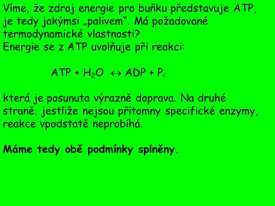 Množství energie uvolněné při hydrolýze ATP můžeme změřit např.