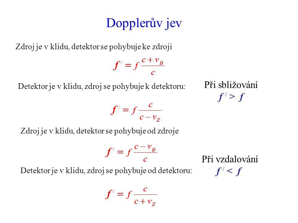 Dopplerův jev Detektor je v klidu, zdroj se pohybuje k detektoru: Zdroj je v klidu, detektor se pohybuje ke zdroji Zdroj je v klidu, detektor se pohybuje od zdroje Detektor je v klidu, zdroj se pohybuje od detektoru: Při sbližování f / > f Při vzdalování f / < f