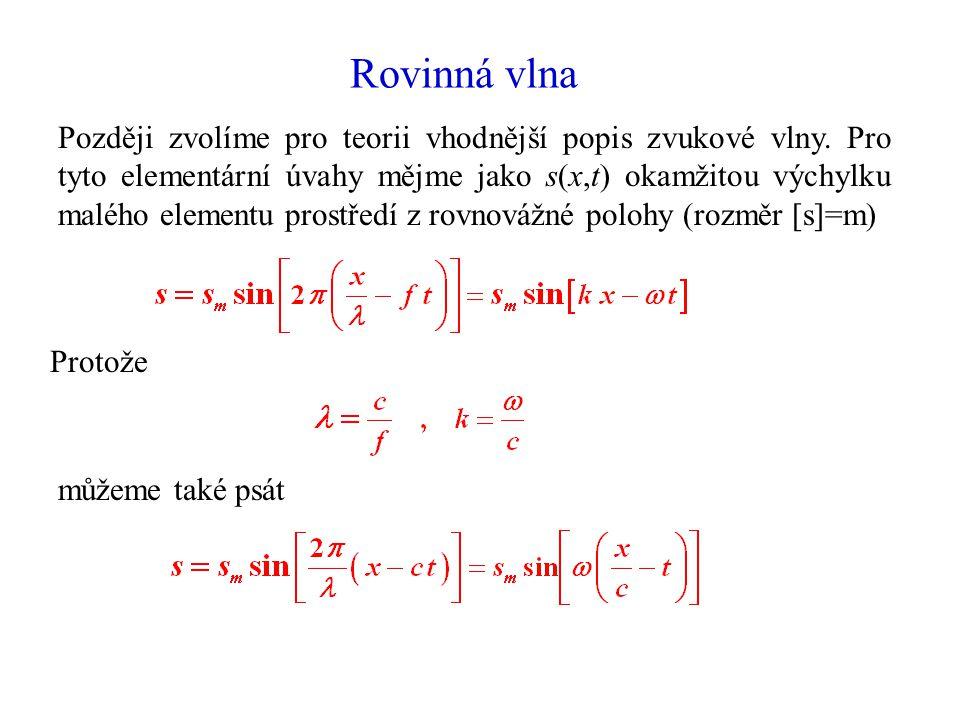 Rovinná vlna Později zvolíme pro teorii vhodnější popis zvukové vlny.