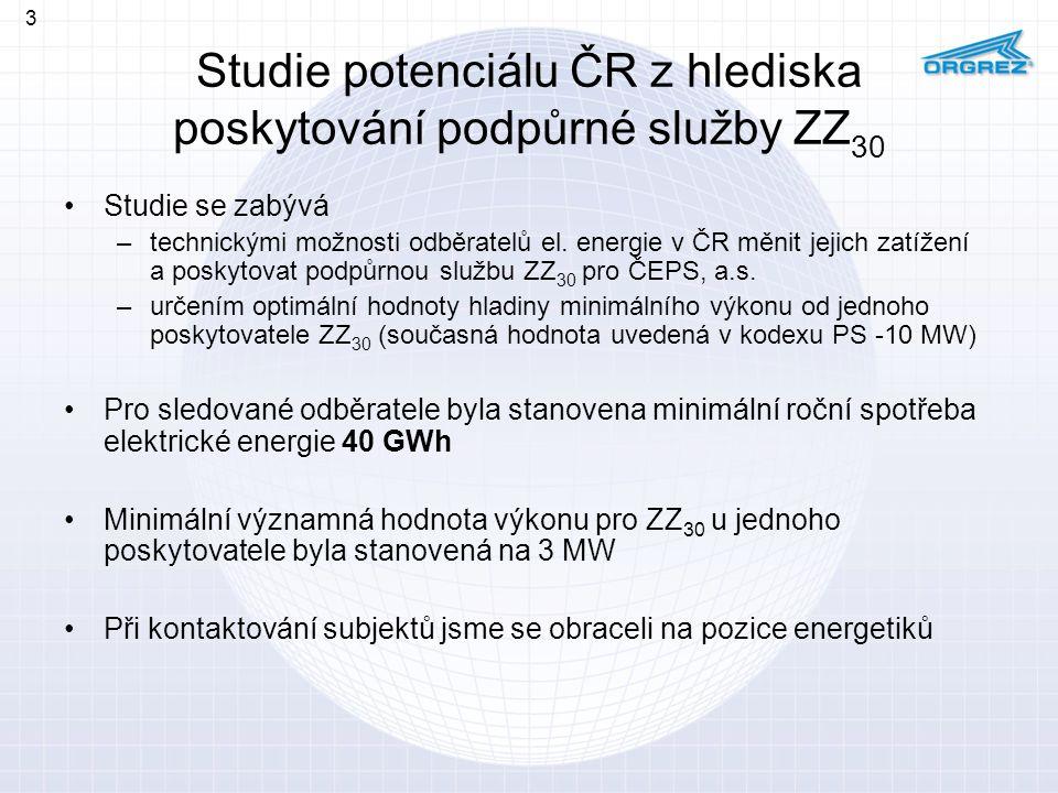 Studie potenciálu ČR z hlediska poskytování podpůrné služby ZZ 30 Studie se zabývá –technickými možnosti odběratelů el. energie v ČR měnit jejich zatí