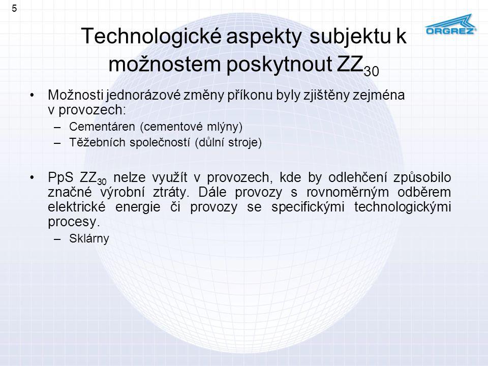 Technologické aspekty subjektu k možnostem poskytnout ZZ 30 Možnosti jednorázové změny příkonu byly zjištěny zejména v provozech: –Cementáren (cemento