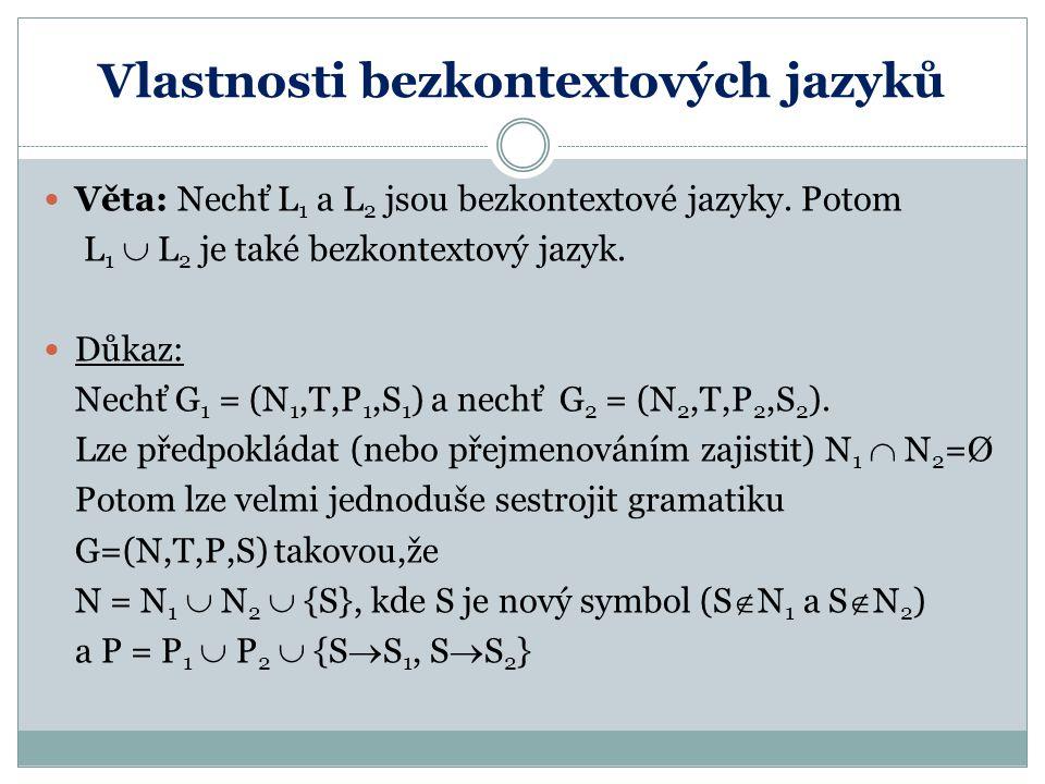 Vlastnosti bezkontextových jazyků Věta: Nechť L 1 a L 2 jsou bezkontextové jazyky. Potom L 1  L 2 je také bezkontextový jazyk. Důkaz: Nechť G 1 = (N