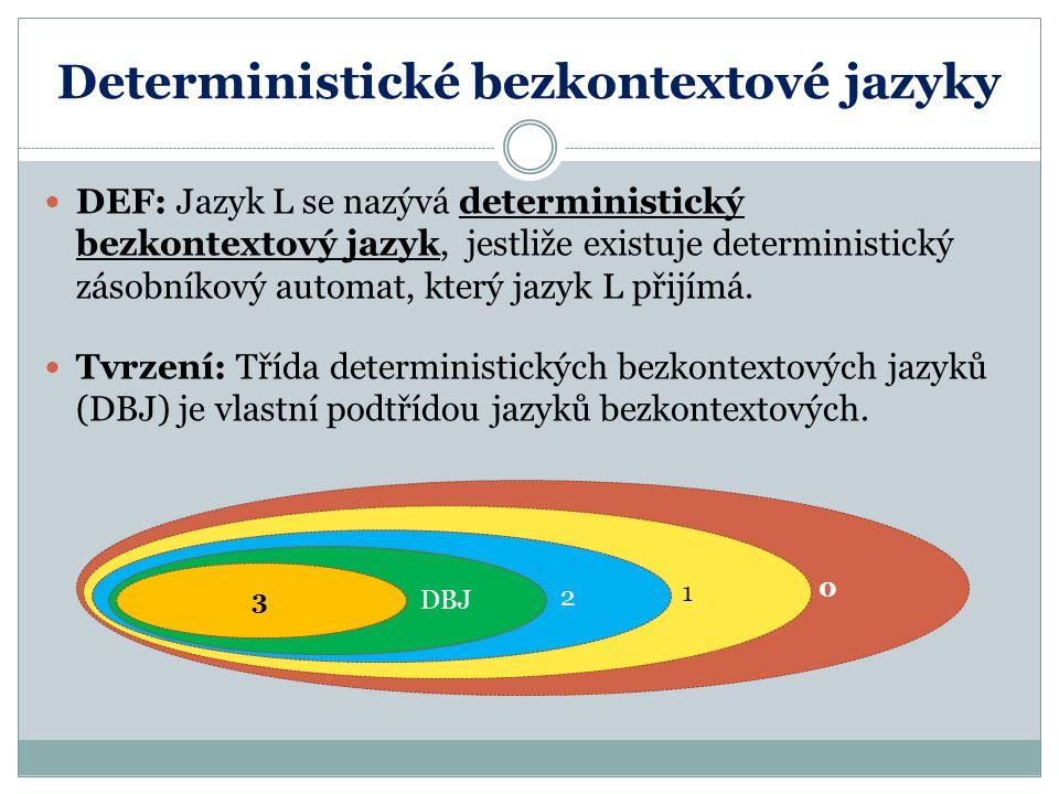 Deterministické bezkontextové jazyky DEF: Jazyk L se nazývá deterministický bezkontextový jazyk, jestliže existuje deterministický zásobníkový automat, který jazyk L přijímá.