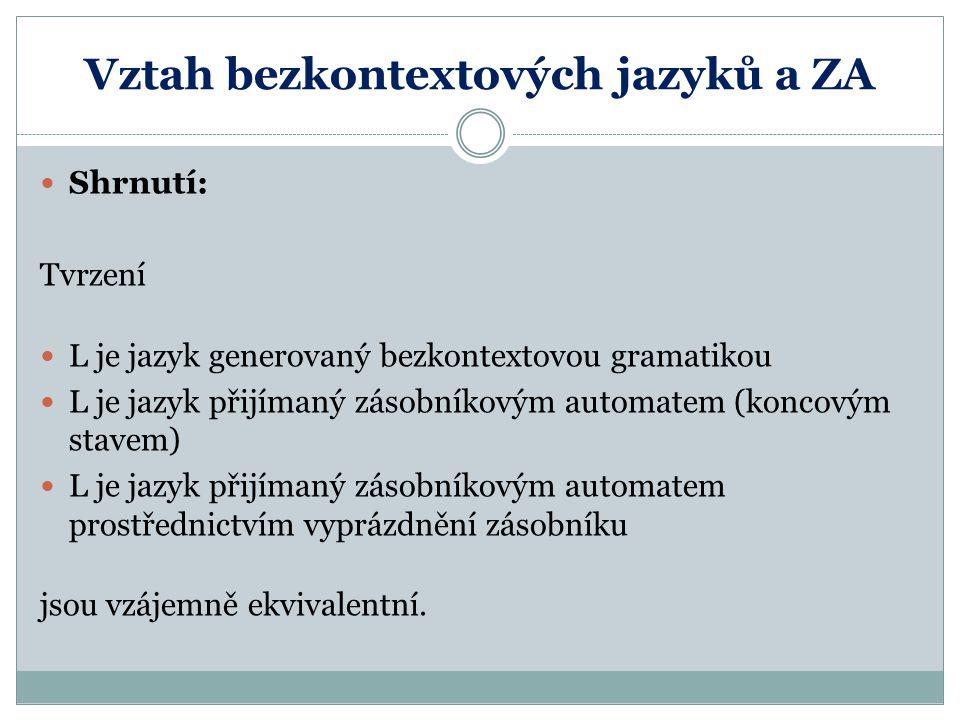 Vztah bezkontextových jazyků a ZA Shrnutí: Tvrzení L je jazyk generovaný bezkontextovou gramatikou L je jazyk přijímaný zásobníkovým automatem (koncov