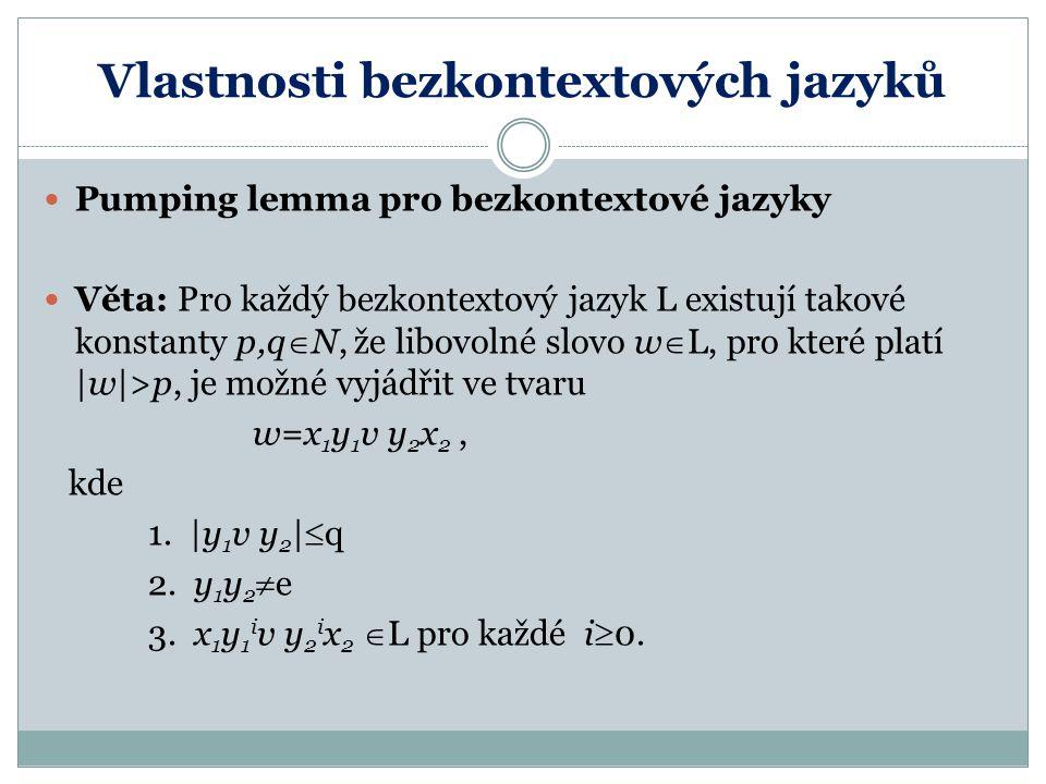 Vlastnosti bezkontextových jazyků Nástin důkazu: Pokud je v odpovídající gramatice G n neterminálů, zvolíme konstanty p=2 n a q=2 n+1 Potom nejdelší cesta v příslušném derivačním stromu obsahuje alespoň n+2 vrcholů.Jelikož poslední symbol je terminál, bude tam alespoň n+1 neterminálů => nejméně jeden se zde vyskytuje 2x Vyjádřeno pomocí odvození: S  * x 1 Ax 2  + x 1 y 1 A y 2 x 2  + x 1 y 1 v y 2 x 2 to ale znamená, že v gramatice G lze provést i derivace S  * x 1 y 1 i v y 2 i x 2 pro každé i  0