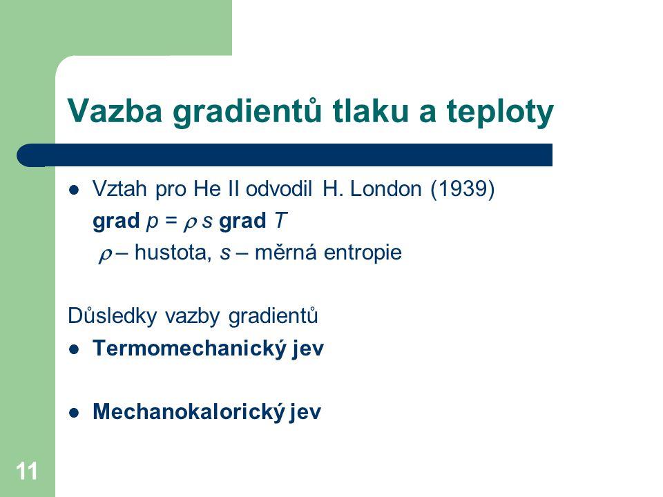 11 Vazba gradientů tlaku a teploty Vztah pro He II odvodil H. London (1939) grad p =  s grad T  – hustota, s – měrná entropie Důsledky vazby gradi
