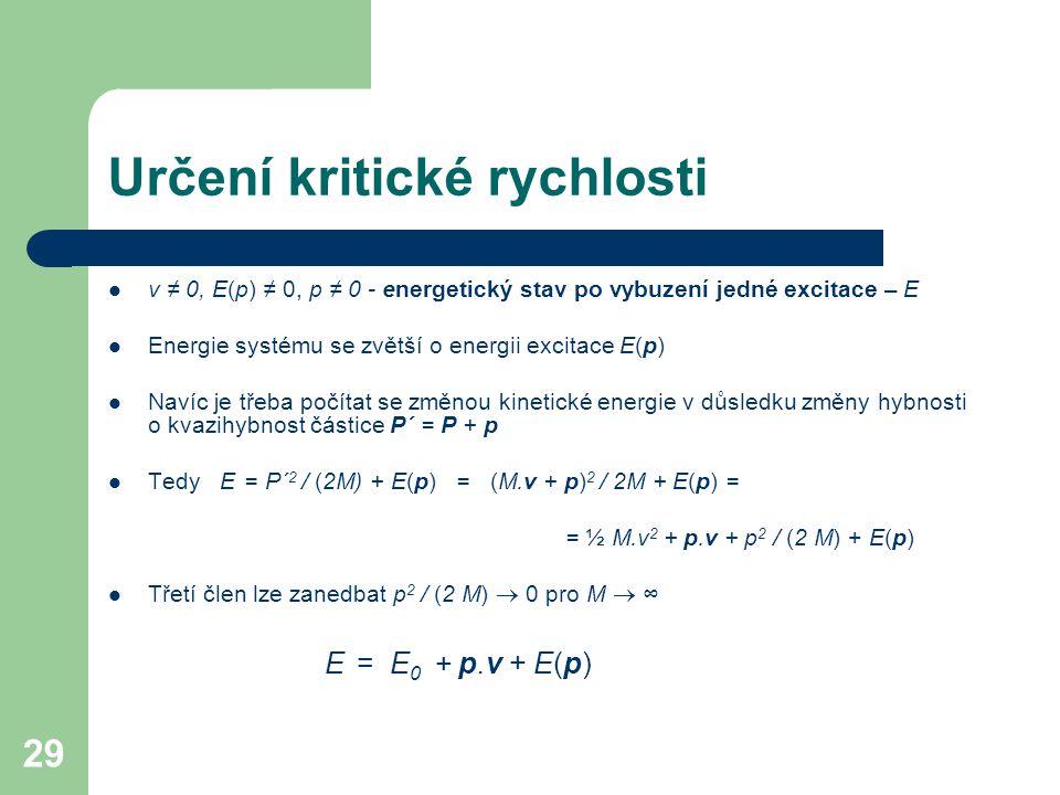 29 Určení kritické rychlosti v ≠ 0, E(p) ≠ 0, p ≠ 0 - energetický stav po vybuzení jedné excitace – E Energie systému se zvětší o energii excitace E(p) Navíc je třeba počítat se změnou kinetické energie v důsledku změny hybnosti o kvazihybnost částice P´ = P + p Tedy E = P´ 2 / (2M) + E(p) = (M.v + p) 2 / 2M + E(p) = = ½ M.v 2 + p.v + p 2 / (2 M) + E(p) Třetí člen lze zanedbat p 2 / (2 M)  0 pro M  ∞ E = E 0 + p.v + E(p)
