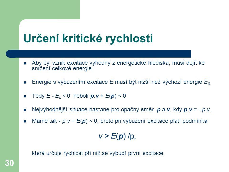 30 Určení kritické rychlosti Aby byl vznik excitace výhodný z energetické hlediska, musí dojít ke snížení celkové energie. Energie s vybuzením excitac