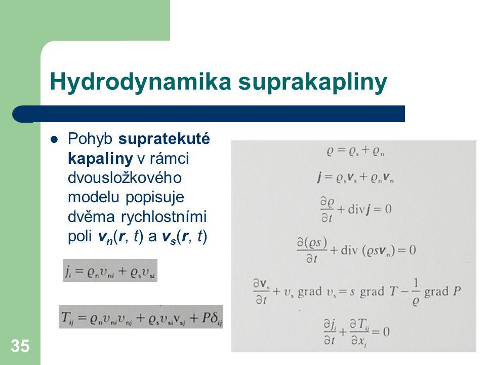 35 Hydrodynamika suprakapliny Pohyb supratekuté kapaliny v rámci dvousložkového modelu popisuje dvěma rychlostními poli v n (r, t) a v s (r, t)