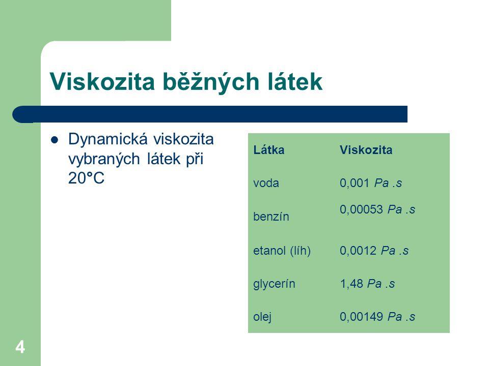 4 Viskozita běžných látek Dynamická viskozita vybraných látek při 20°C LátkaViskozita voda0,001 Pa.s benzín 0,00053 Pa.s etanol (líh)0,0012 Pa.s glycerín1,48 Pa.s olej0,00149 Pa.s