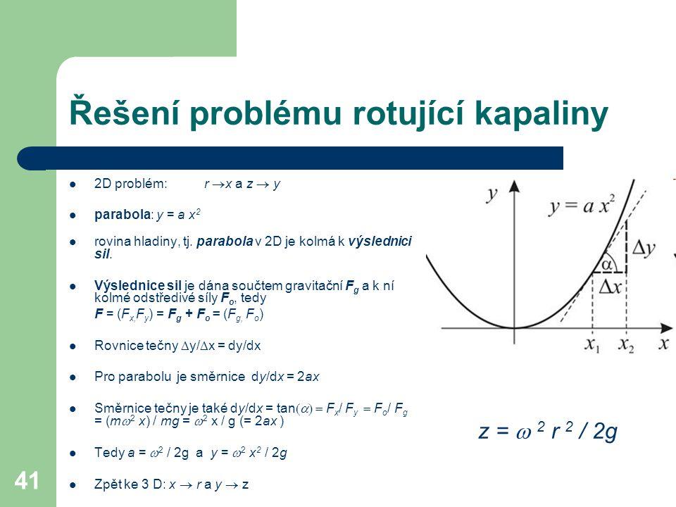 41 Řešení problému rotující kapaliny 2D problém: r  x a z  y parabola: y = a x 2 rovina hladiny, tj. parabola v 2D je kolmá k výslednici sil. Výsled