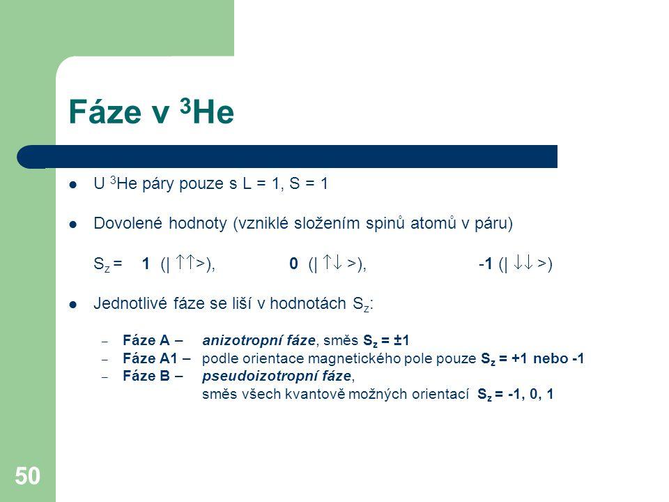 50 Fáze v 3 He U 3 He páry pouze s L = 1, S = 1 Dovolené hodnoty (vzniklé složením spinů atomů v páru) S z = 1 (|  >), 0 (|  >), -1 (|  >) Jednotlivé fáze se liší v hodnotách S z : – Fáze A – anizotropní fáze, směs S z = ±1 – Fáze A1 – podle orientace magnetického pole pouze S z = +1 nebo -1 – Fáze B – pseudoizotropní fáze, směs všech kvantově možných orientací S z = -1, 0, 1