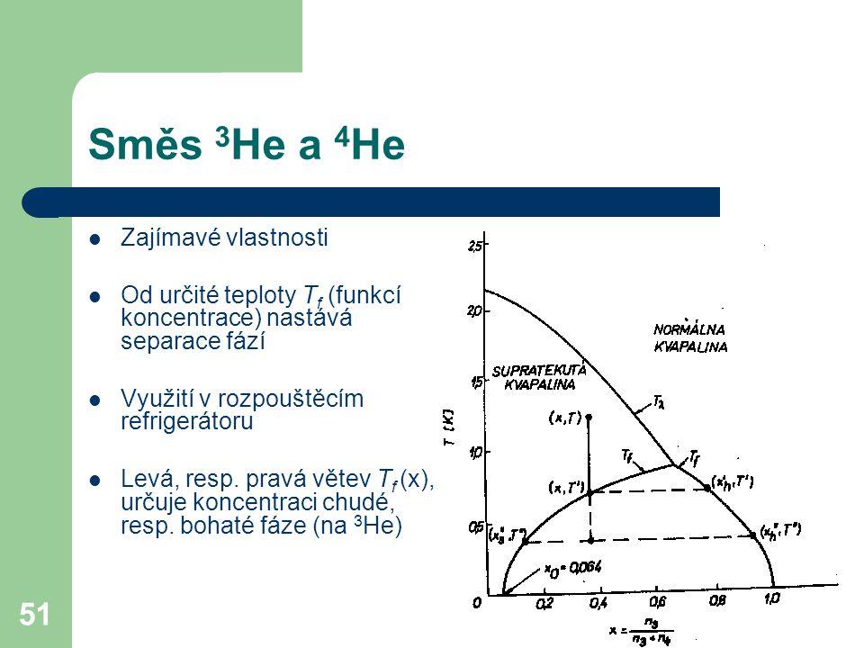51 Směs 3 He a 4 He Zajímavé vlastnosti Od určité teploty T f (funkcí koncentrace) nastává separace fází Využití v rozpouštěcím refrigerátoru Levá, resp.