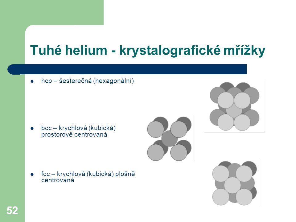 52 Tuhé helium - krystalografické mřížky hcp – šesterečná (hexagonální) bcc – krychlová (kubická) prostorově centrovaná fcc – krychlová (kubická) ploš