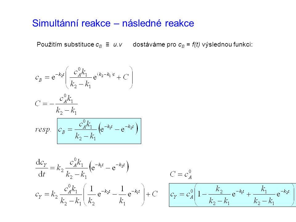 Použitím substituce c B ≡ u.v dostáváme pro c B = f(t) výslednou funkci: