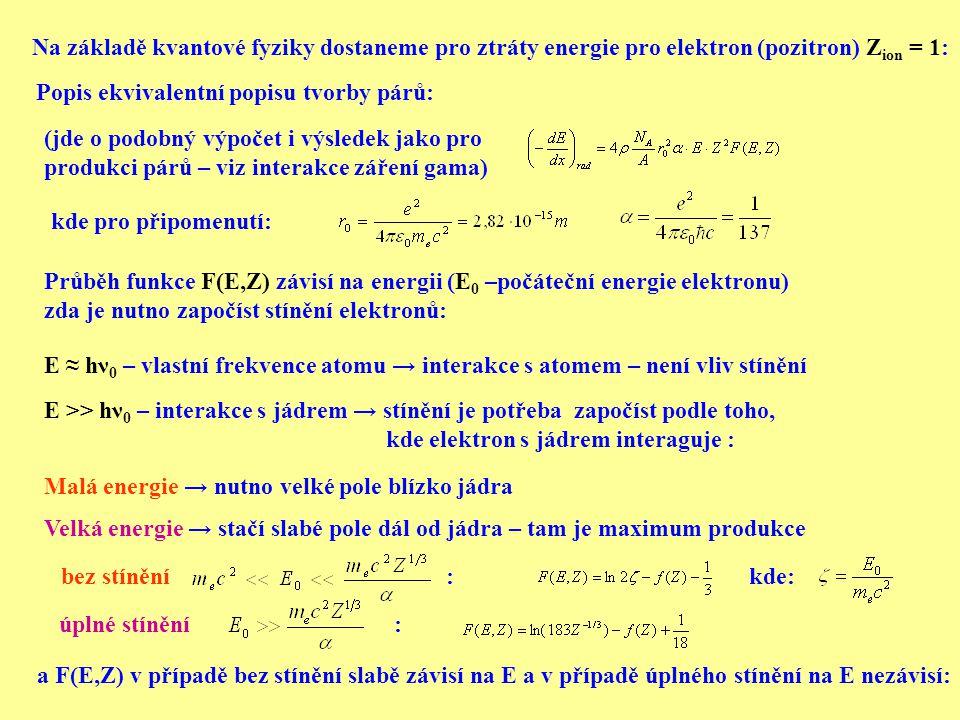 Průběh funkce F(E,Z) závisí na energii (E 0 –počáteční energie elektronu) zda je nutno započíst stínění elektronů: bez stínění : úplné stínění : kde: (jde o podobný výpočet i výsledek jako pro produkci párů – viz interakce záření gama) Na základě kvantové fyziky dostaneme pro ztráty energie pro elektron (pozitron) Z ion = 1: Popis ekvivalentní popisu tvorby párů: kde pro připomenutí: a F(E,Z) v případě bez stínění slabě závisí na E a v případě úplného stínění na E nezávisí: E ≈ hν 0 – vlastní frekvence atomu → interakce s atomem – není vliv stínění E >> hν 0 – interakce s jádrem → stínění je potřeba započíst podle toho, kde elektron s jádrem interaguje : Malá energie → nutno velké pole blízko jádra Velká energie → stačí slabé pole dál od jádra – tam je maximum produkce
