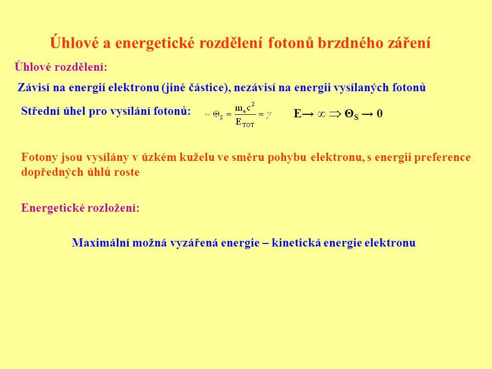 Úhlové a energetické rozdělení fotonů brzdného záření Závisí na energií elektronu (jiné částice), nezávisí na energii vysílaných fotonů Střední úhel pro vysílání fotonů: E→ ∞  Θ S → 0 Fotony jsou vysílány v úzkém kuželu ve směru pohybu elektronu, s energii preference dopředných úhlů roste Úhlové rozdělení: Energetické rozložení: Maximální možná vyzářená energie – kinetická energie elektronu
